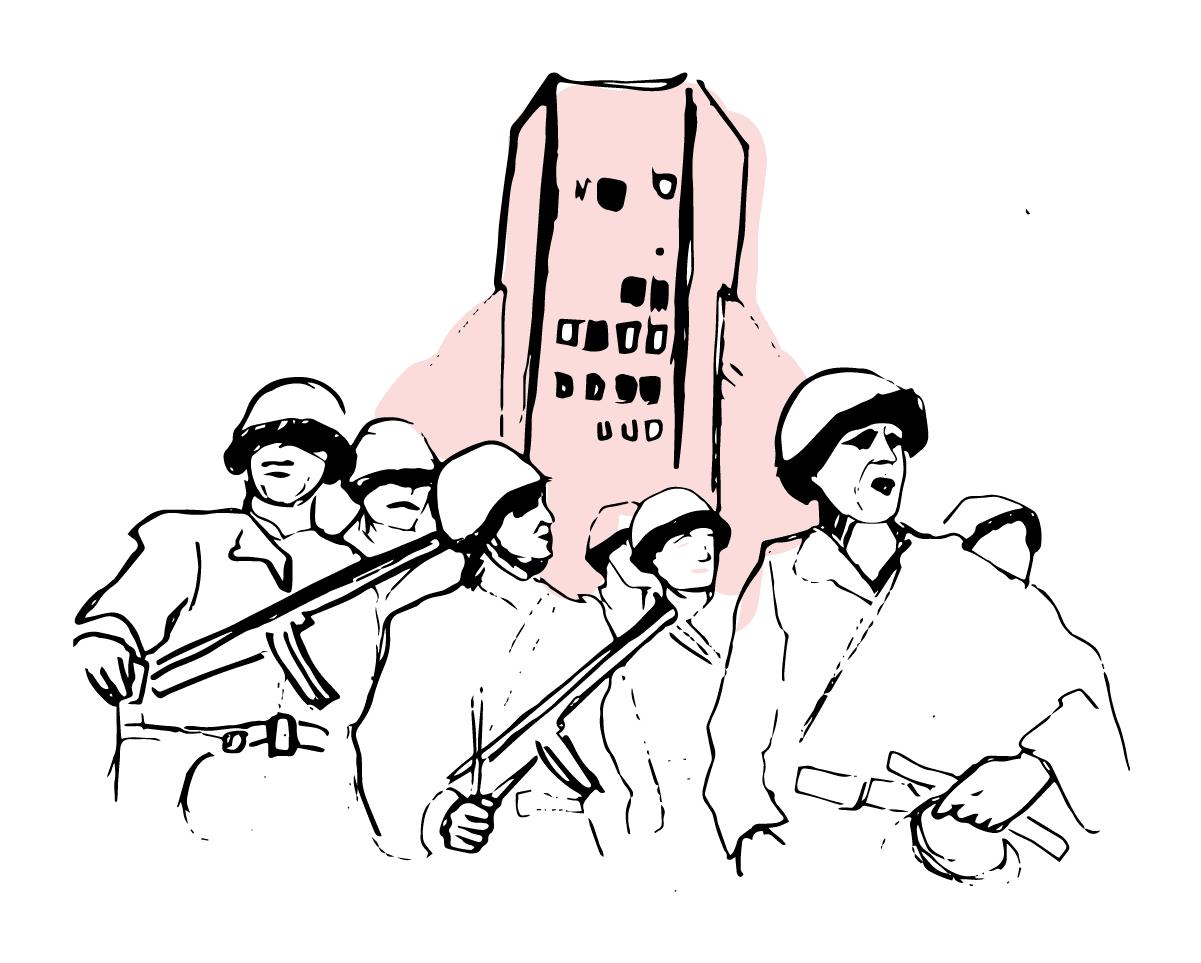 crvena-armija-palata albanije-ilustracija kurs